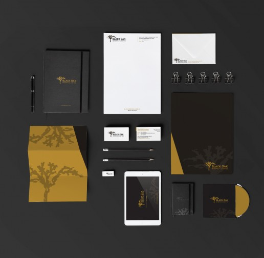 Image showing a preview of Black Oak Minerals business card, envelope design, disk sleeve, letterhead, presentation folder, and various stationary that Elites Wave designed.